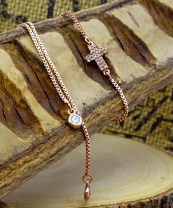 Rose-Gold Swarovski Crystal Cross Bracelet