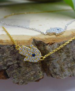 Small Protective-Eye Hamsa Crystal .925 Silver Necklace