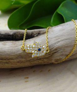 Small Protective-Eye Hamsa Crystal Gold Necklace