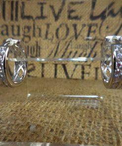 Large Silver Crystal Studded Hoop Earrings
