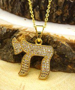 Chai Swarovski Crystal Pendant Gold Necklace