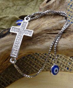 Silver & Swarovski Crystal Cross Pendant Bracelet