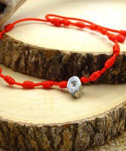 Silver Hamsa CZ Red-String Adjustable Bracelet