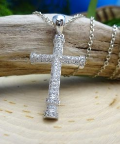 Round Front CZ Cross Pendant .925 Silver Necklace