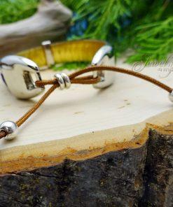 Purple Handmade Leather and Boho Cotton Bracelet