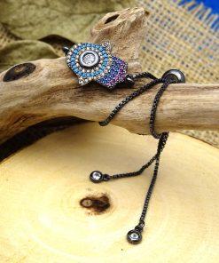 Multi-Colored Crystal Hamsa Black Bracelet - Blue