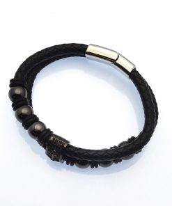 Multi-Strand Black Leather with Bronzed Steel Beads & Anchor Emblem Bracelet