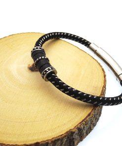 Black & Steel Bungee Modern Gothic Bracelet