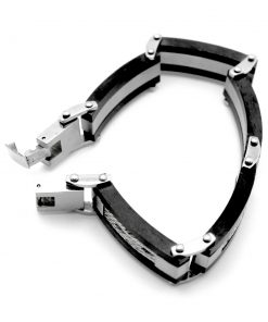 Black & Brushed Steel Link with Steel Cable Inlay Bracelet