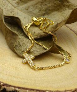 Gold Swarovski Crystal Cross Bracelet
