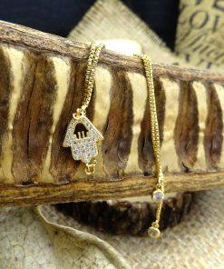 Gold Swarovski Crystal Cut-out Hamsa Bracelet