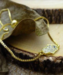 Gold Swarovski Crystal Hamsa Bracelet