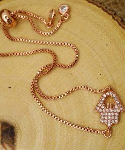 Rose-Gold Swarovski Crystal Cut-out Hamsa Bracelet