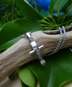 Polished Silver Stainless Steel Cross with CZ Crystal Necklace
