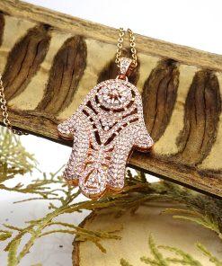 Dazzling Rose-Gold CZ Hamsa Pendant Necklace 2020