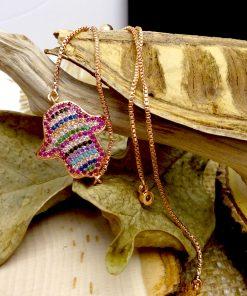 Multi-Colored Crystal Hamsa Rose-Gold Bracelet