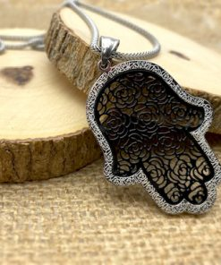 """Stainless Steel Hamsa with Black Filigree-Style Rose Pattern Pendant 19"""" Necklace"""
