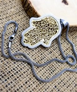 """Stainless Steel Hamsa with Gold Filigree-Style Rose Pattern Pendant 19"""" Necklace"""