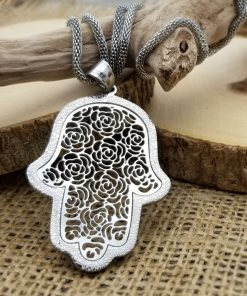 """Stainless Steel Hamsa with Silver Filigree-Style Rose Pattern Pendant 19"""" Necklace"""