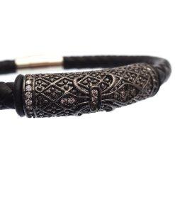 Black Braided Leather with Dark Steel & CZ Crystal Gothic Bracelet