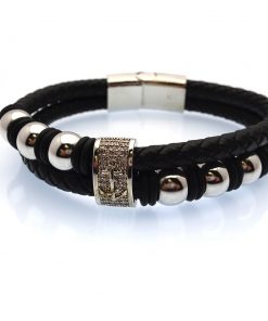 Multi-Strand Black Leather with Polished Stainless Steel Beads & Anchor Emblem Bracelet