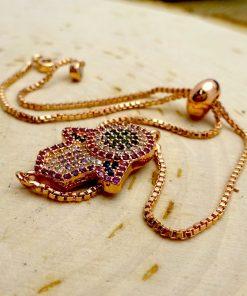 Multi-Colored Crystal Hamsa Rose Gold Bracelet - Pink