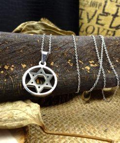 Black & Silver Star of David Pendant Necklace