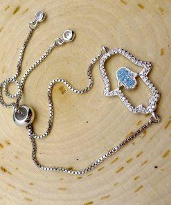Silver & Swarovski Crystal Double Hamsa Bracelet