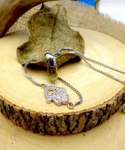 Silver Swarovski Crystal Cut-out Hamsa Bracelet